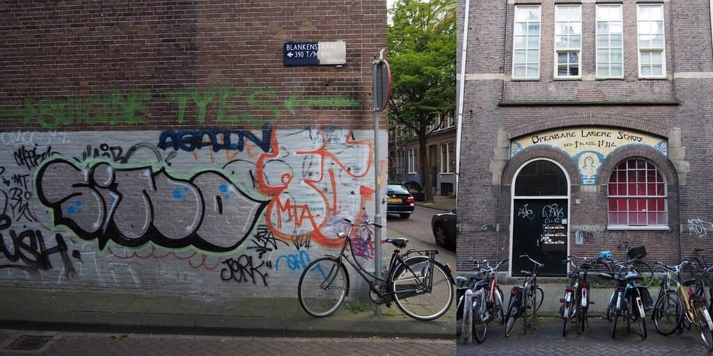 El viejo edificio de la escuela en Blankenstraat, Ámsterdam