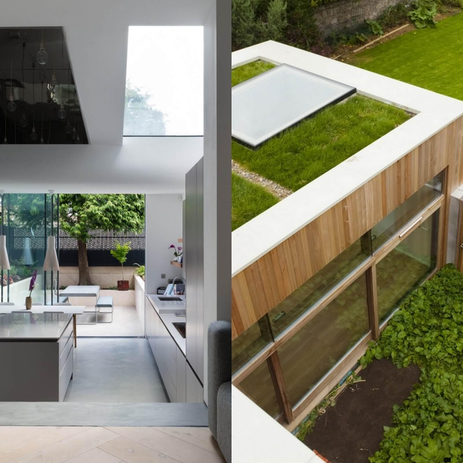 Ejemplo: vidrio transitable en un techo verde