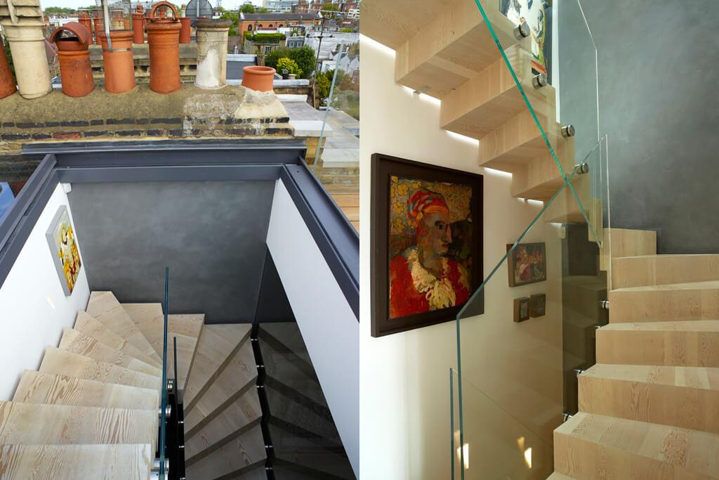 Ventana de tejado deslizante sobre la impresionante escalera